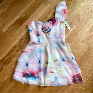 Jill Stuart Floral Silk Tiered Mini Dress